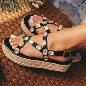 Just in!💎🖤Diamond Embellished Straps Espadrille